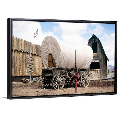 """Covered wagon, UT"" Black Float Frame Canvas Art"