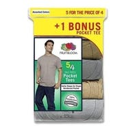 Fruit of the Loom Men's Pocket T-shirts 5-pack Assorted Colors.