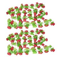 Home Wall Ornament Red Apple Flower Decor Green Leaf Hanging Vine x 2