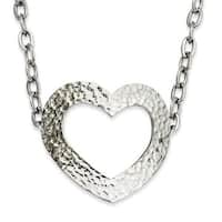 Stainless Steel Textured Heart 18in Necklace (4 mm) - 18 in
