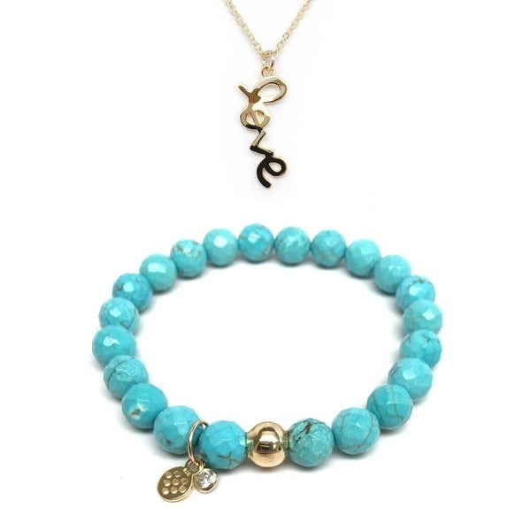 "Turquoise Magnesite 7"" Bracelet & Love Gold Charm Necklace Set"