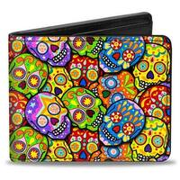 Colorful Calaveras Stacked Multi Color Bi Fold Wallet - One Size Fits most