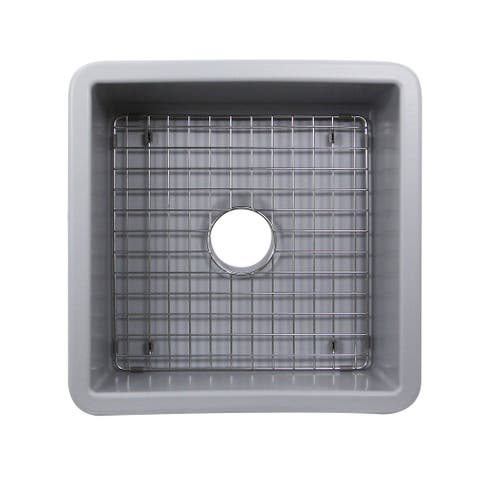 16 Inch Square Fireclay Kitchen Prep or Bar Sink - 18 x 18 x8.5 inches