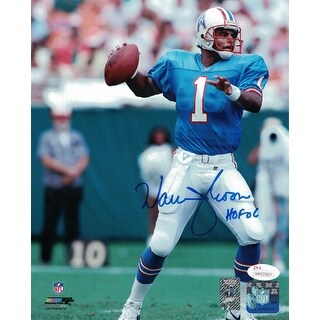 Warren Moon Autographed Houston Oilers 8x10 Photo Blue JSA