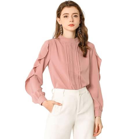 Women's Ruffle Mock Neck Blouse Work Pleated Shirt Top - Rusty Pink