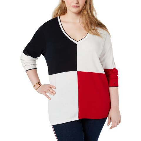 Tommy Hilfiger Womens Plus V-Neck Sweater Cotton Blend Colorblock - Navy/White/Red