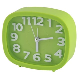 Household Office Desktop Plastic Oval Silent Battery Powered Alarm Clock Green