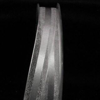 "Silver Satin Center Organdy Margaritte Craft Ribbon 1"" x 60 yards"