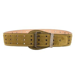 Roberto Cavalli Olive Green Suede Triple Hole Punch Suede Belt