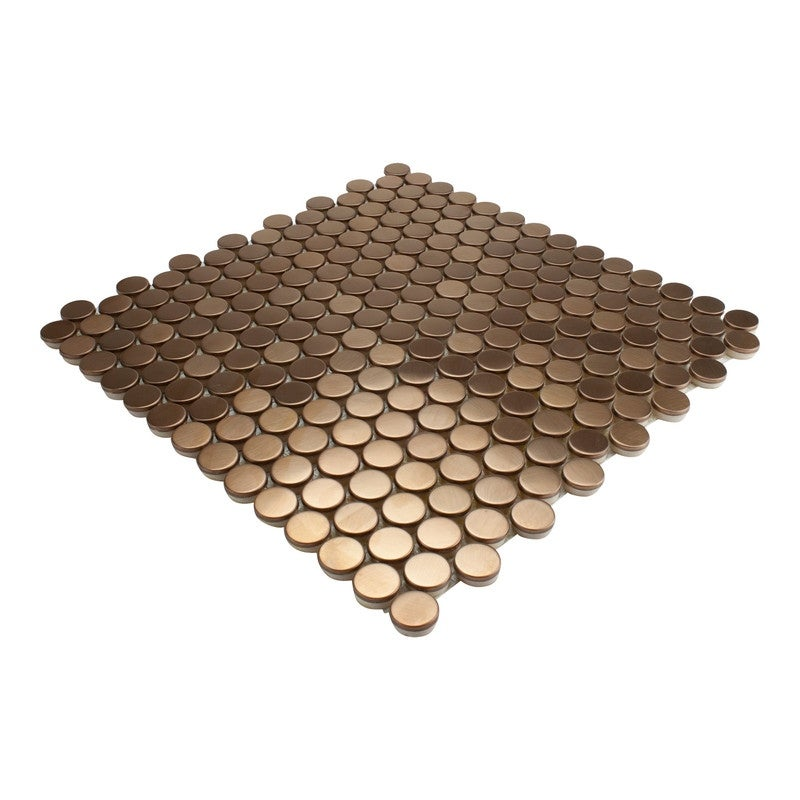 Giorbello Copper Chalet Penny Round Mosaic Tile Case Of 11 Sq Ft Overstock 32230613
