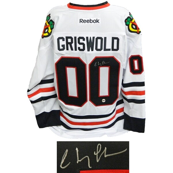 chevy chase christmas vacation blackhawks white reebok premier hockey griswold 00 jersey - Blackhawks Christmas