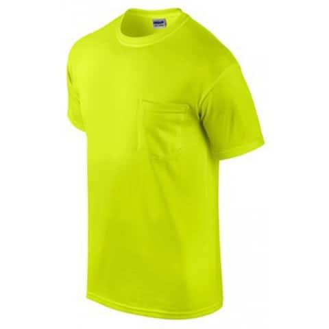 Gildan G2300GRN-L Short Sleeve Pocket Tee Shirt Large, Safety Green