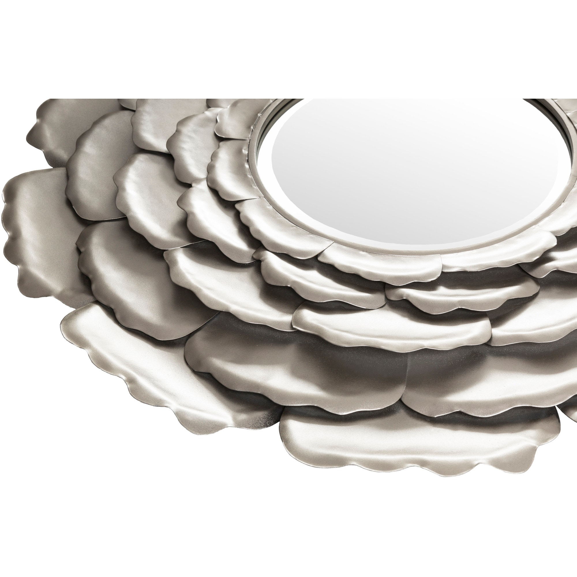 Molly Champagne Silver Flower Round Accent Mirror 32 X 32 32 X 32 Overstock 10595446