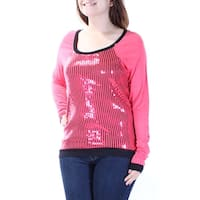 Womens Red Long Sleeve Scoop Neck Party Top  Size  S