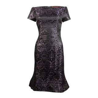 B Michael America Women's Off The Shoulder Metallic Embroidered Dress - Mauve