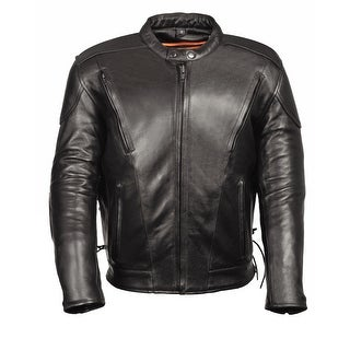 Mens Leather Side Laced Vented Scooter Jacket