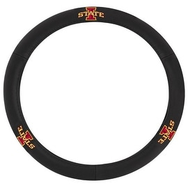 Pilot Automotive Black Leather Iowa State Cyclone Car Auto Steering Wheel Cover
