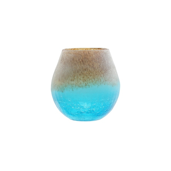 "5.5"" Azure Blue Crackled and Chocolate Brown Frosted Hand Blown Glass Vase"