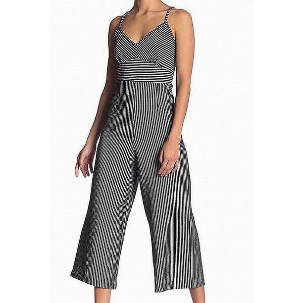Angie Black Women's Size Medium M Pinstriped Shimmer Jumpsuit