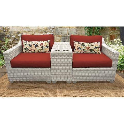Fairmont 3 Piece Outdoor Wicker Patio Furniture Set 03b