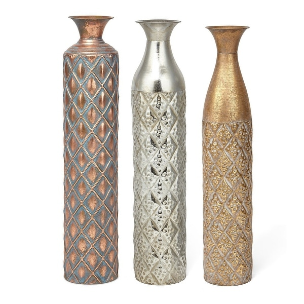 "Set of 3 Silver and Gold Colored Geometric Pattern Narrow Vases 28"" - N/A"
