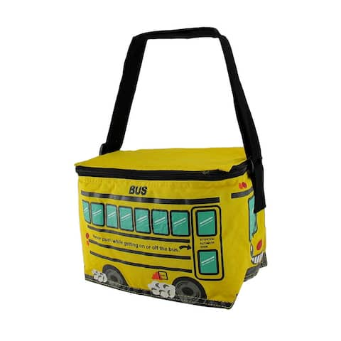 Bright Yellow School Bus Insulated Vinyl Lunch Bag - 6.5 X 8.5 X 6 inches