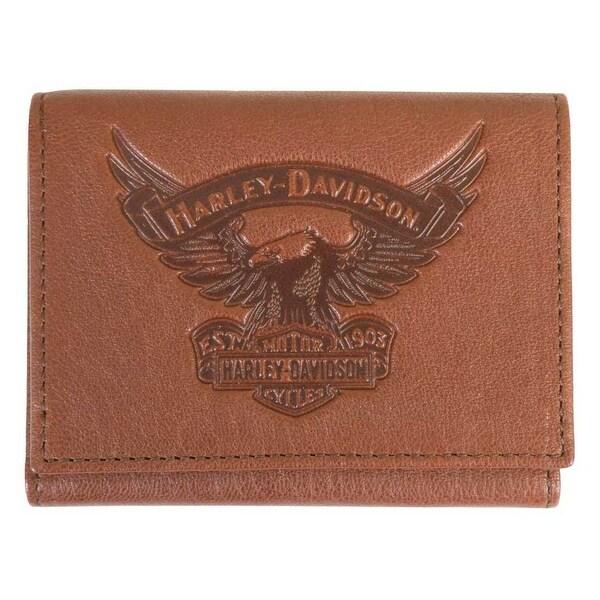 "Harley-Davidson Men's Eagle Emboss Leather Tri-Fold Wallet, Brown EE9052L-SCOTCH - 4.75"" x 3.75"""