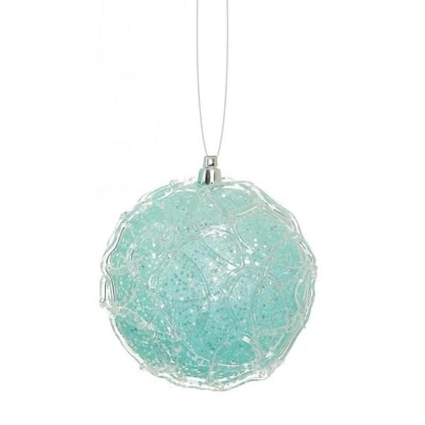 "4"" Snowy Winter Ice Blue Glittered Shatterproof Christmas Ball Ornament"