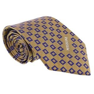 Missoni Square Gold/Blue Woven 100% Silk Tie