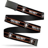 Blank Black Buckle Call Of Duty Black Ops Iii Skull Icon 2 Stripe Web Belt