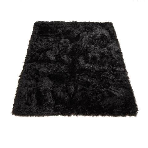 Walk on Me Faux Sheepskin Rectangle Faux Fur Machine Washable Area Rug