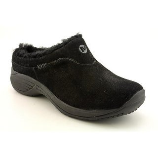 Merrell Encore Ice Women Round Toe Suede Black Mules