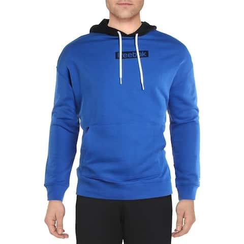 Reebok Mens Training Essentials Hoodie Sweatshirt Fitness - Humble Blue
