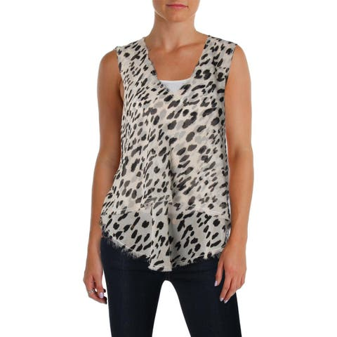 NYDJ Womens Blouse Tie-Dye Embroidered