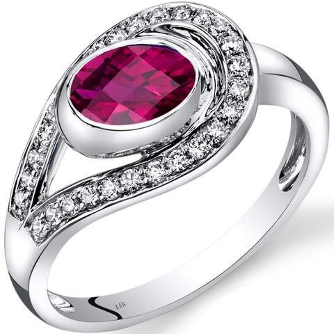 14 Karat White Gold Created Ruby Diamond Infinity Ring 1.22 Carats