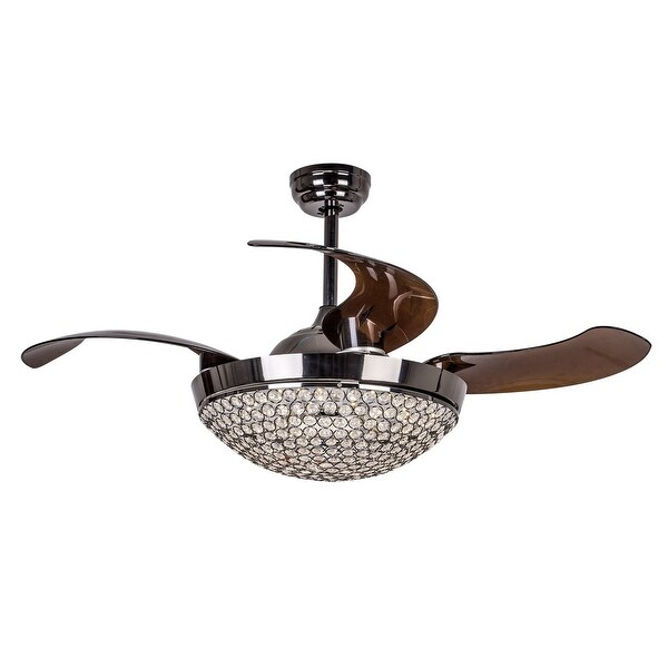 Shop Modern Dimmable Light Crystal Ceiling Fan With