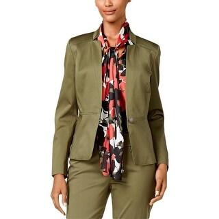 Nine West Womens One-Button Blazer Twill Lined