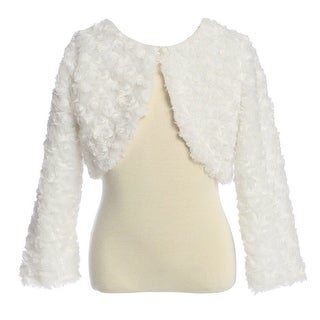 Baby Girls Ivory Rosette Long Sleeve Faux Fur Elegant Jacket 6-24M