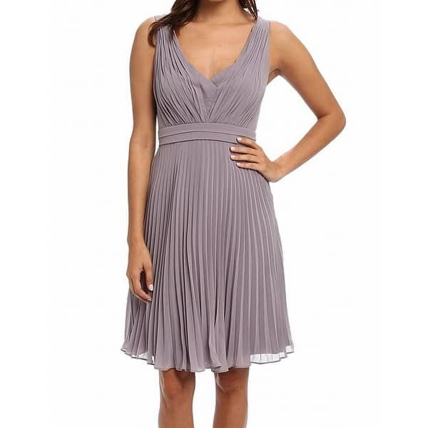 d9699ec876581 Shop Donna Morgan NEW Gray Women's Size 2 Short Pleated Chiffon ...