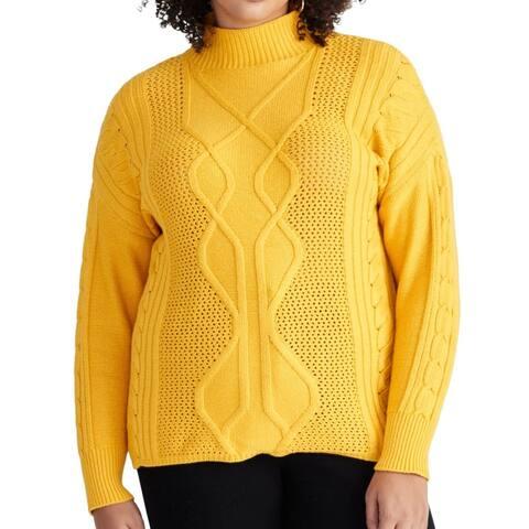 Rachel Rachel Roy Women's Sweater Yellow 2X Plus Turtleneck Cable-Knit