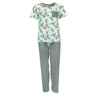 Sag Harbor Women's Paris Short Sleeve Tee Pant Pajama Set
