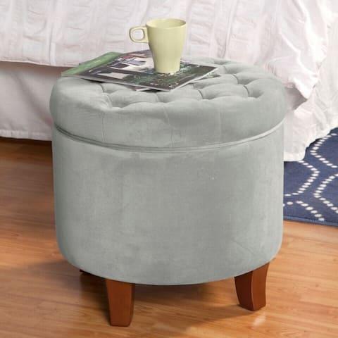 Carson Carrington Hare Large Button-tufted Round Storage Ottoman