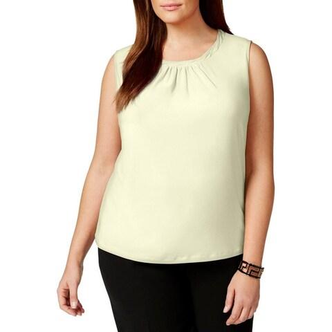 Tahari ASL Womens Plus Pullover Top Matte Jersey Pleated