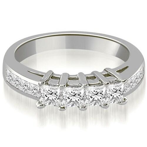 1.35 cttw. 14K White Gold Channel Set Princess Cut Diamond Wedding Band