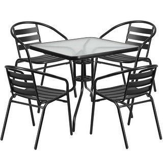 Skovde Square 31.5'' Glass Metal Table w/4 Black Metal Aluminum Slat Stack Chairs for Restaurant/Bar/Pub/Patio