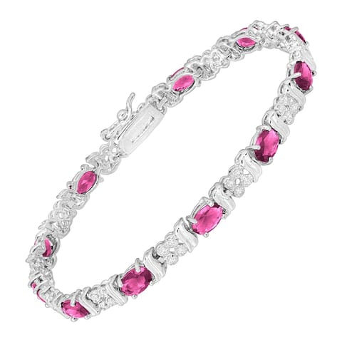 """Pink Glass Tennis Bracelet with Cubic Zirconia in Rhodium-Plated Bronze, 7.25"""""""