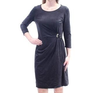 Womens Black 3/4 Sleeve Above The Knee Sheath Dress Size: XS