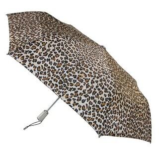 Totes Women's Auto Open and Close Leopard Print Compact Umbrella - One size