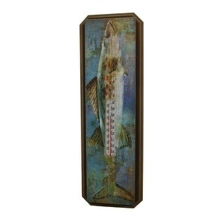 20 Inch Tall Wood and Metal Largemouth Bass Wall Mounted Thermometer