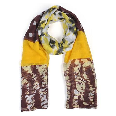 Women's Yellow Viscose Multi Pattern Scarf scarves LS4510 - Regular